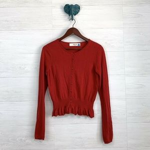Sparrow Anthro Cashmere Blend Red Ruffle Cardigan